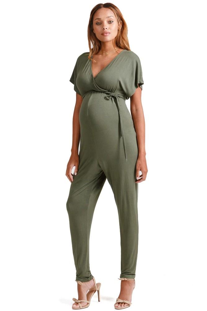 27076efe531 Ingrid & Isabel Crossover Maternity & Nursing Friendly Jumpsuit in Olive