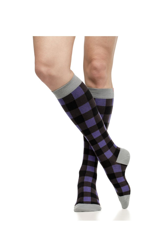 Vim & Vigr 15-20 mmHg Women's Stylish Compression Socks - Merino Wool (Montana Plaid: Violet & Black)
