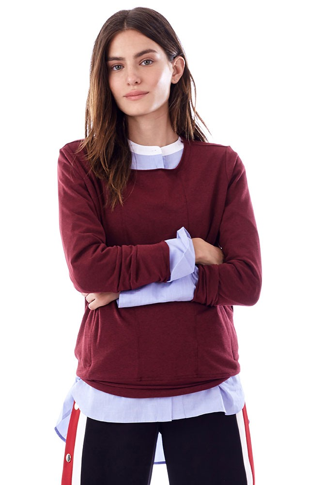 Christy Long Sleeve Nursing Top (Burgundy)