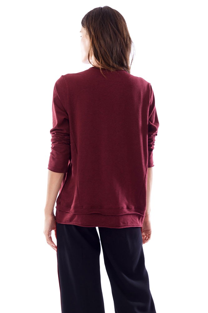 Christy long sleeve nursing top in burgundy by loyal hana for Banded bottom shirts canada