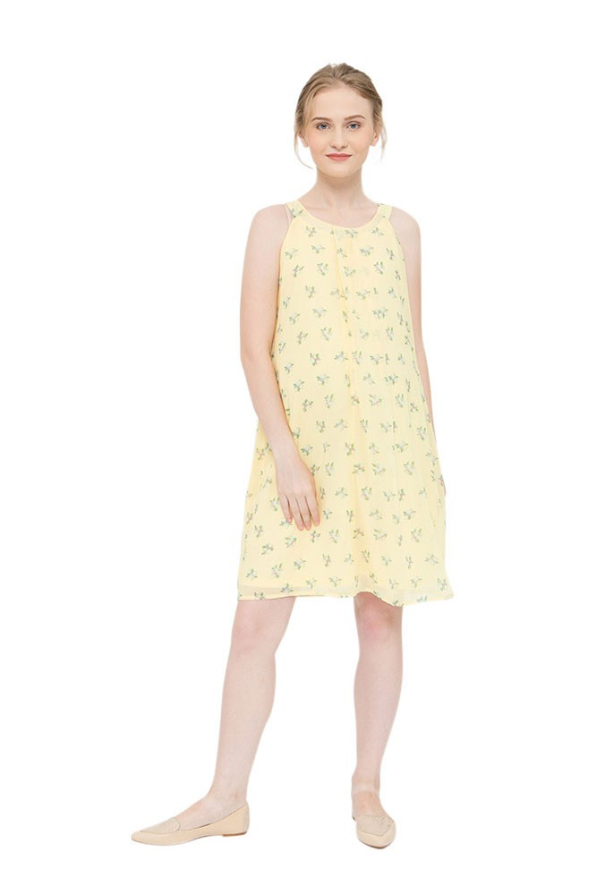 b8556856f1c55 Yvonne Halter Woven Maternity & Nursing Dress in Yellow Floral by Bove by Spring  Maternity