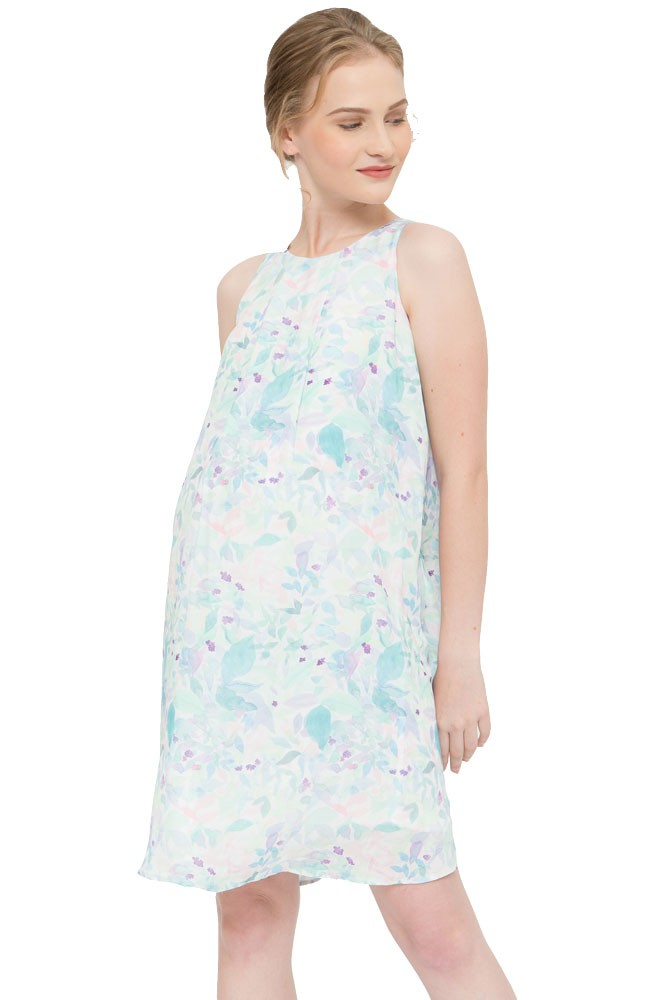 Clarabelle Woven Maternity & Nursing Dress (Water Print)