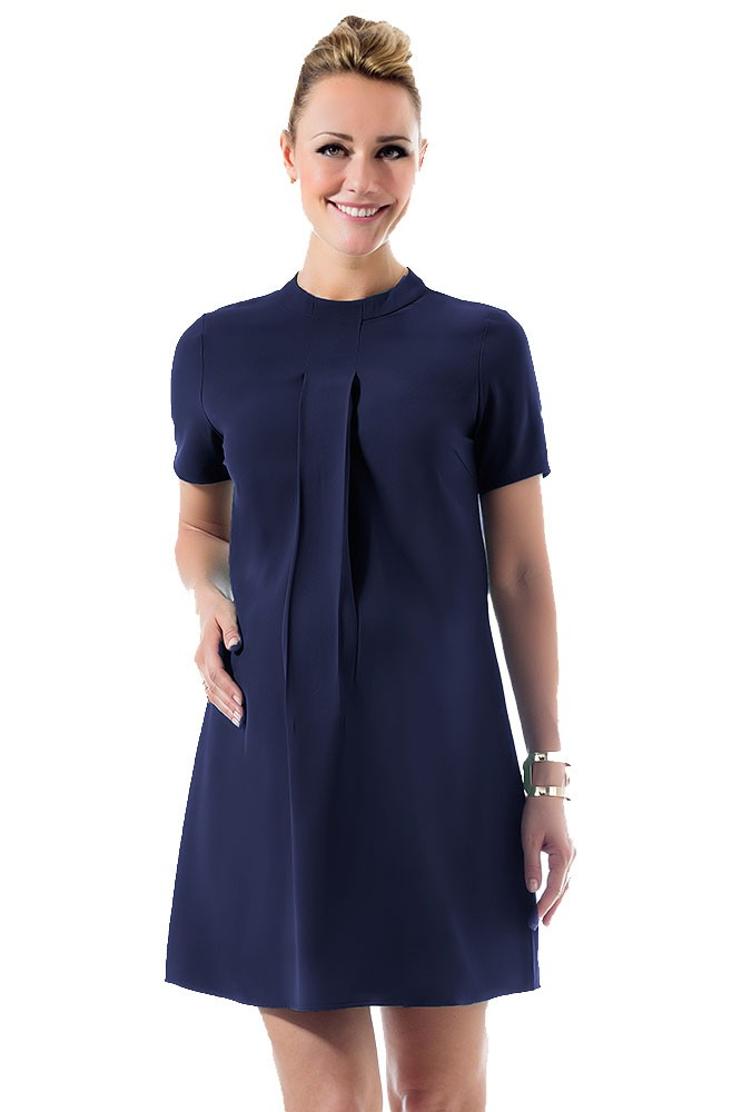 Carla High Neck Maternity & Nursing Dress (Navy)