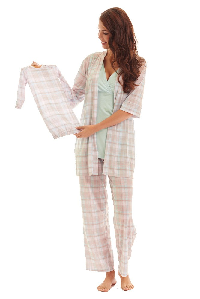 Analise 5-Piece Mom and Baby Maternity and Nursing PJ Set (Blue Plaid)