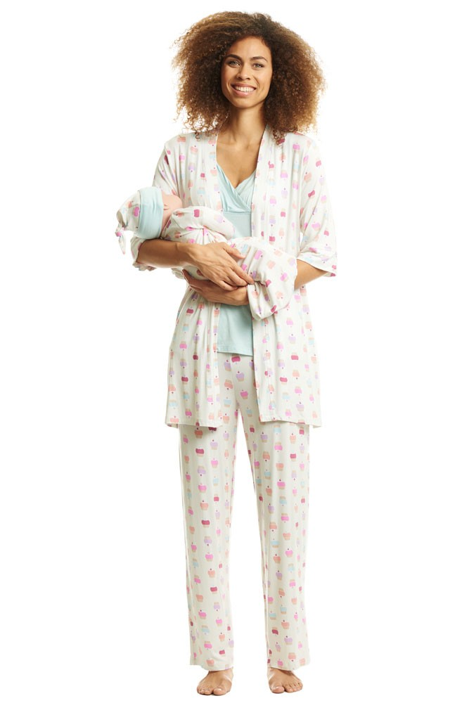 Analise Five-Piece Mom and Baby Maternity and Nursing PJ Set (Cupcakes)
