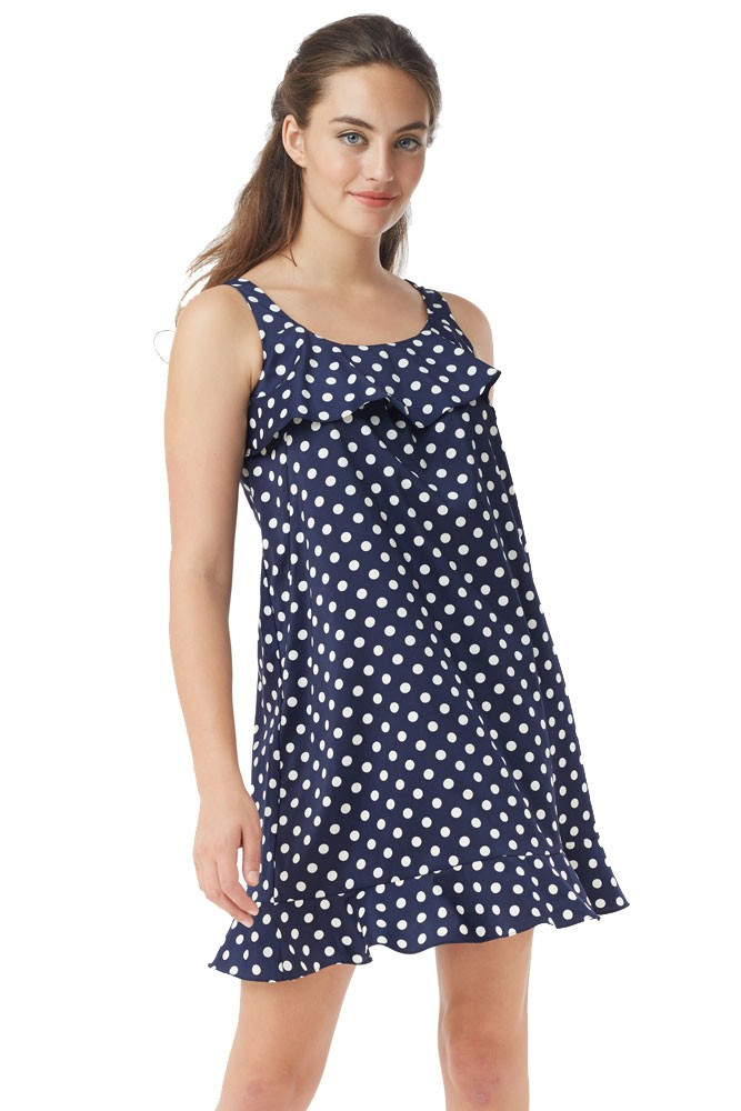 Frou Ruffle Nursing Dress (Polka Dot Navy-White)