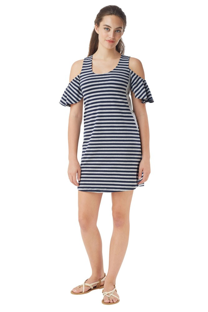 04e4601c3a3 Joop Stripes Cold-Shoulder Nursing Dress in Stripe Navy- Grey by ...