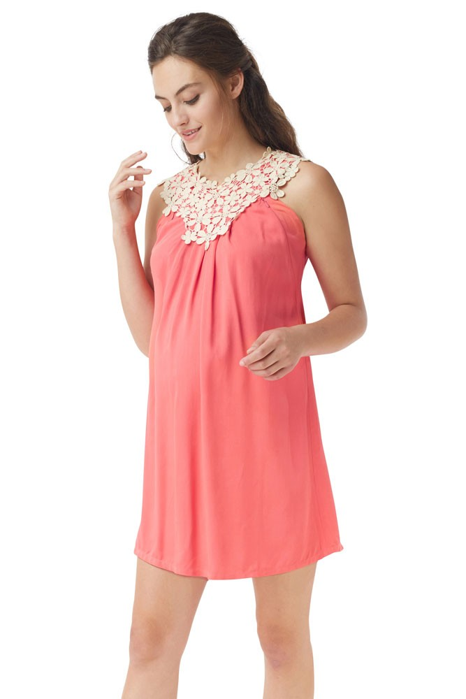 bed6f375fbf5f Bloom Lace Applique Maternity   Nursing Dress in Geogia Peach by Mothers en  Vogue