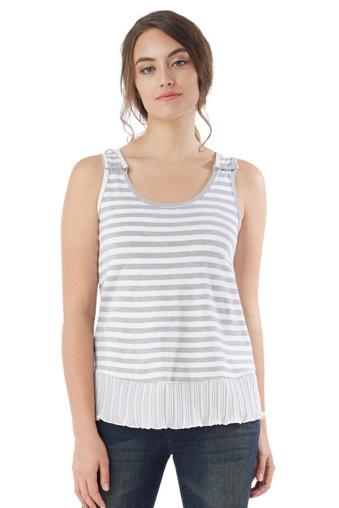 Accordion Stripe Nursing Tank (Stripe Grey-White)