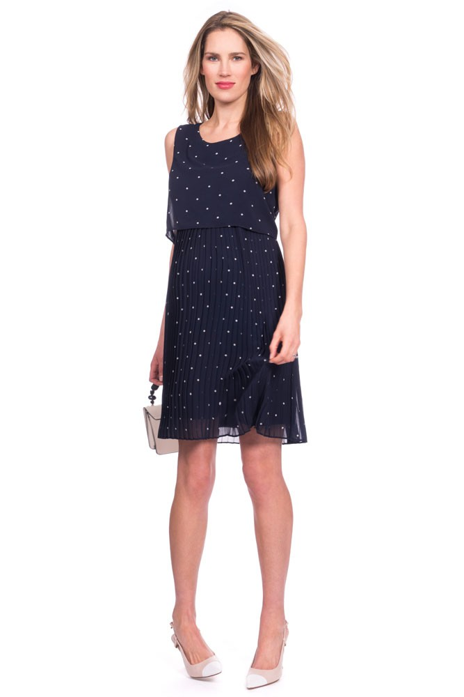 55311497fadaa Seraphine Kimmy Two-Layer Pleated Woven Maternity & Nursing Dress in Navy  Spot