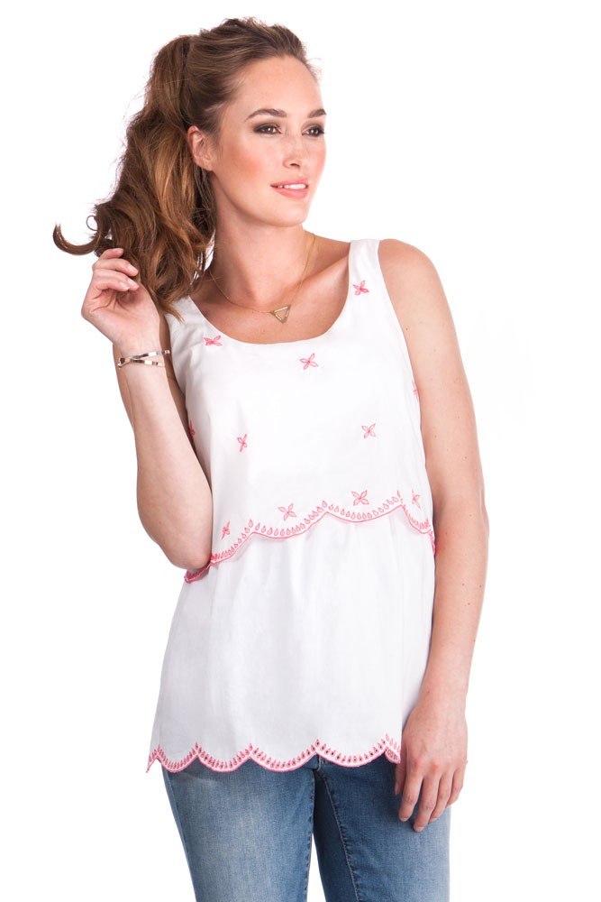 e41f0e28c08f3 Seraphine Bellamy Overlayer Embroidered Maternity & Nursing Top in ...