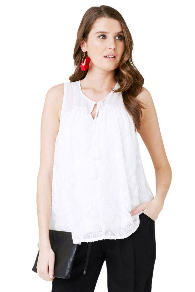 Aztec Lace Maternity & Nursing Top in White by Ripe Maternity