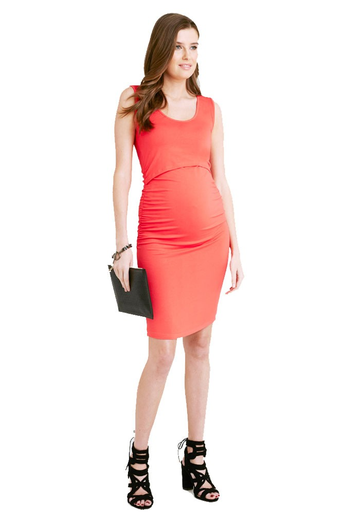 Jackie Maternity   Nursing Fitted Tube Dress in Carmine Red by Ripe ...