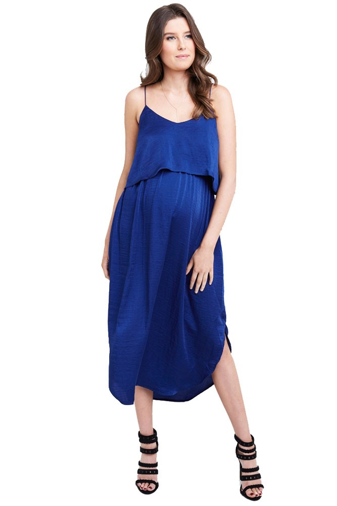 Maya Maternity & Nursing Woven Slip Midi Dress (Royal)