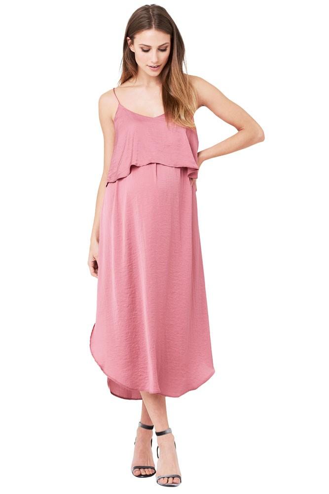 8d6a84faa61 Maya Maternity   Nursing Woven Slip Midi Dress in Rose by Ripe Maternity