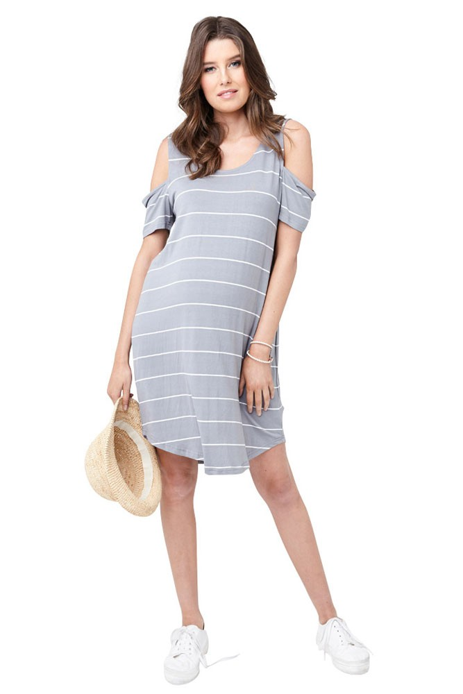 Kylie Relaxed Fit Cut Out Shoulder Maternity Dress (Grey & White Stripe)