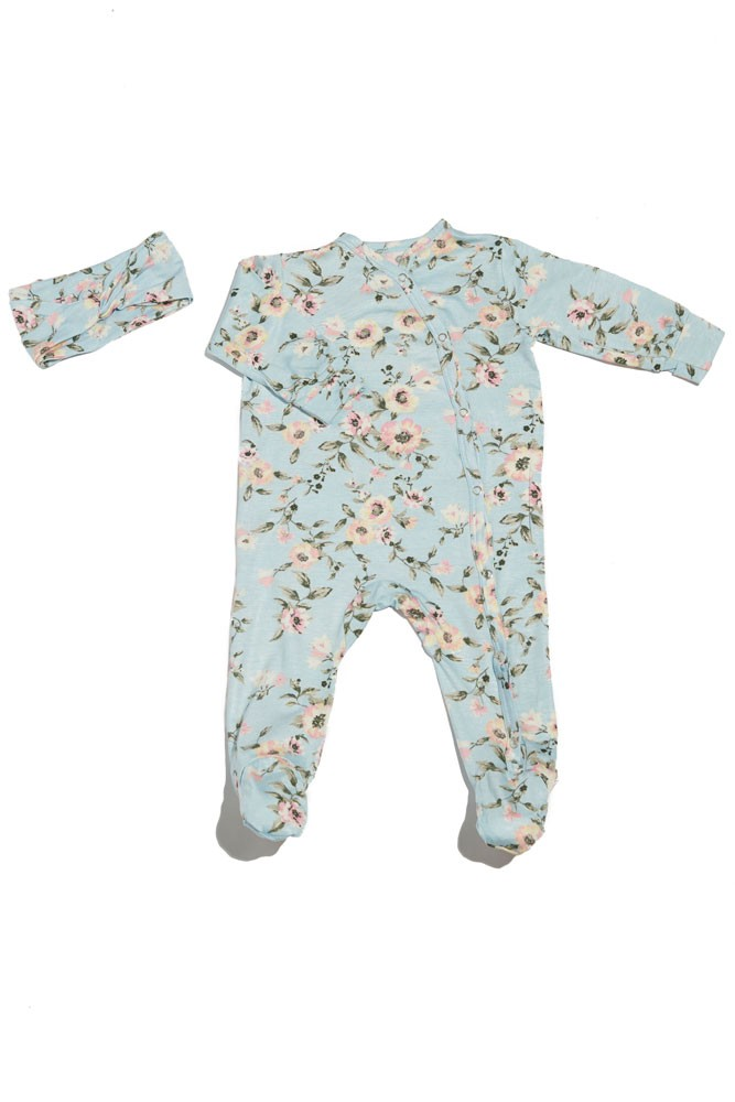 Baby Grey 2-piece Footie & Headband Set  by Everly Grey (Cloud Blue)