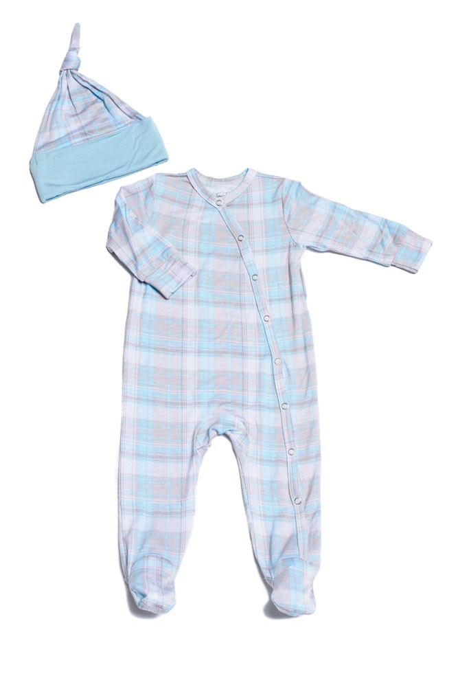 Baby Grey Baby Footie & Hat Set by Everly Grey (Blue Plaid)