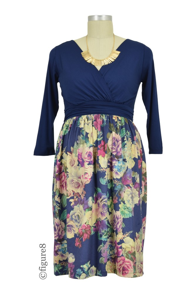 Anabelle Nursing Friendly Floral Print Dress (Navy Purple Floral)