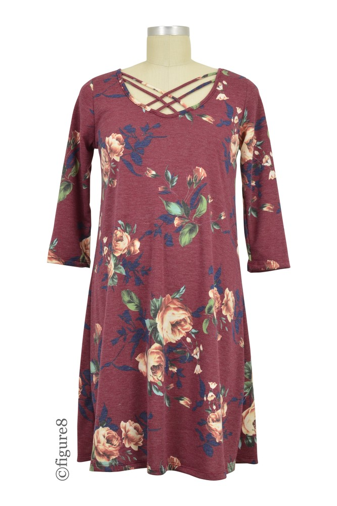 Lynn Bump Friendly Tunic Dress (Burgundy Floral)