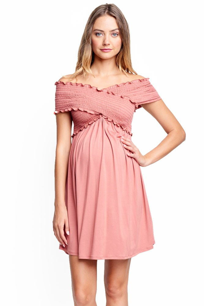 Criss Cross Off-the-Shoulder Maternity & Nursing Friendly Dress (Apricot)