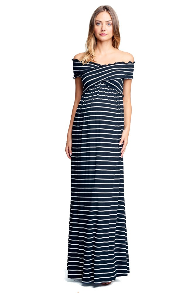 Julia Off-the-Shoulder Criss-Cross Maternity & Nursing Friendly Maxi  Dress (Black Stripes)