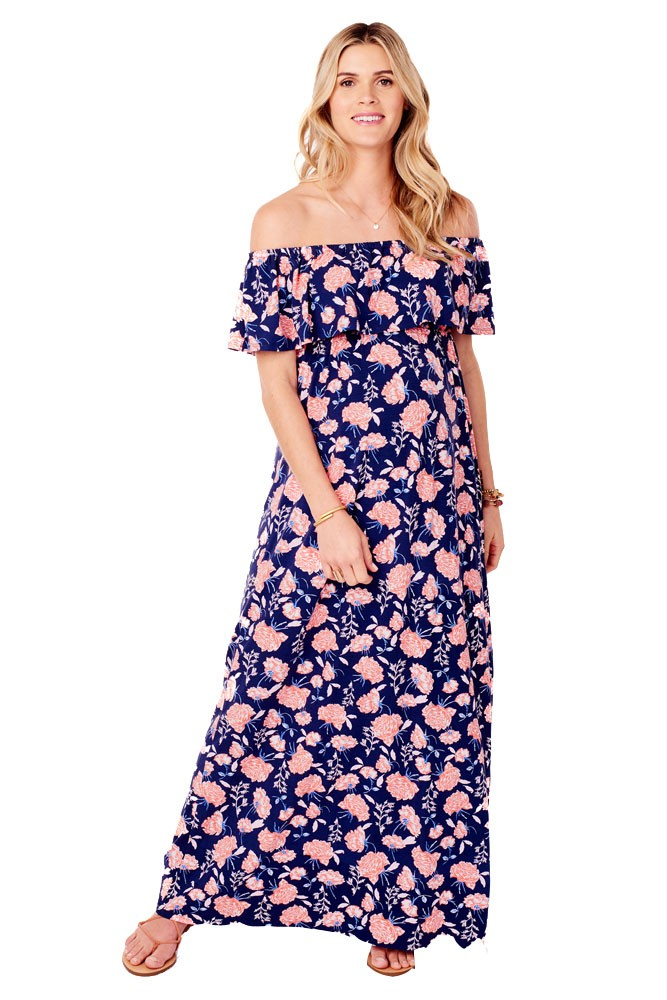Ingrid & Isabel Off-the-Shoulder Maxi Maternity Dress (Coral Cabbage Rose Print)