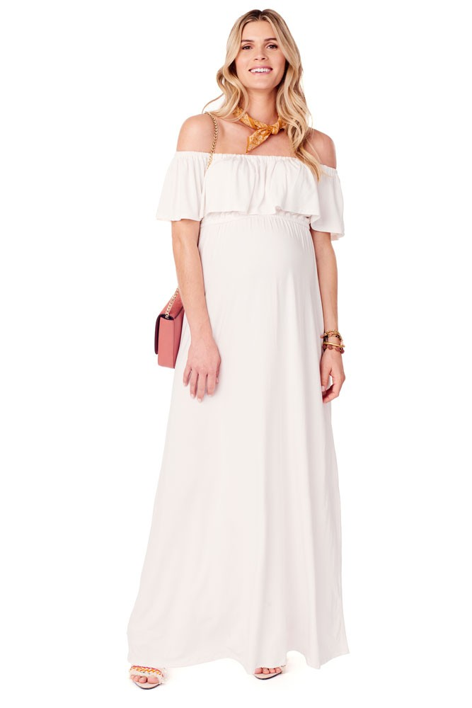 cb0ace4620806 Ingrid & Isabel Off-the-Shoulder Maxi Maternity Dress in Ivory