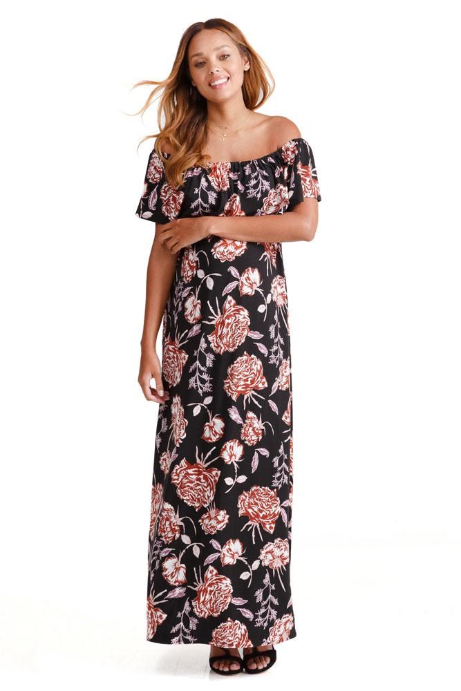 a701d35ab3a Ingrid   Isabel Off-the-Shoulder Maxi Maternity Dress (Black Cabbage Rose  Print