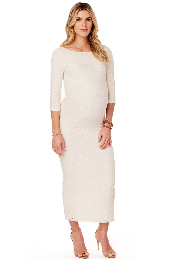 Ingirid & Isabel Lace Ballet Column Maternity Dress (Ivory)