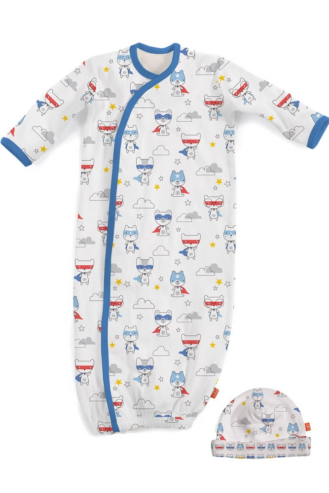Magnificent Baby Magnetic Me™ My Little Super Hero Baby Gown & Hat Set (Superhero)
