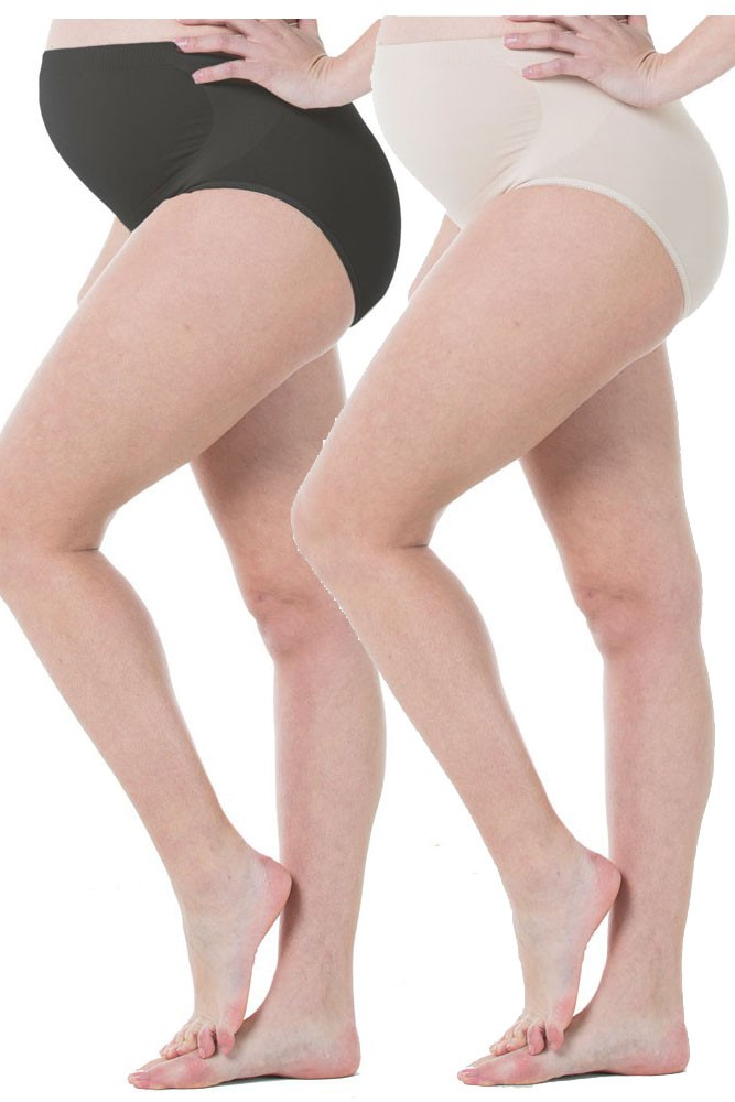 Mavis Seamless Belly Support Maternity Panty - 2 Pack (Black & Nude)