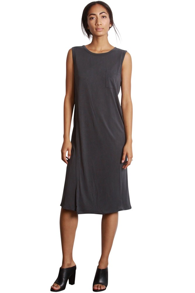 Willa Pocket Tee Dress (Charcoal)