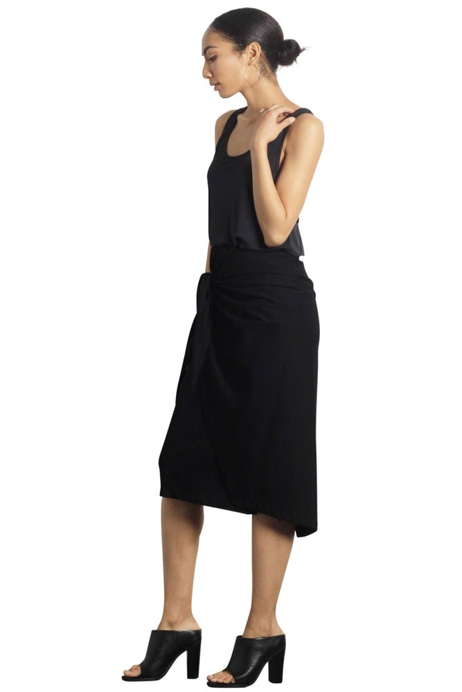 Jen Wrap CottonTransitional Skirt (Black)