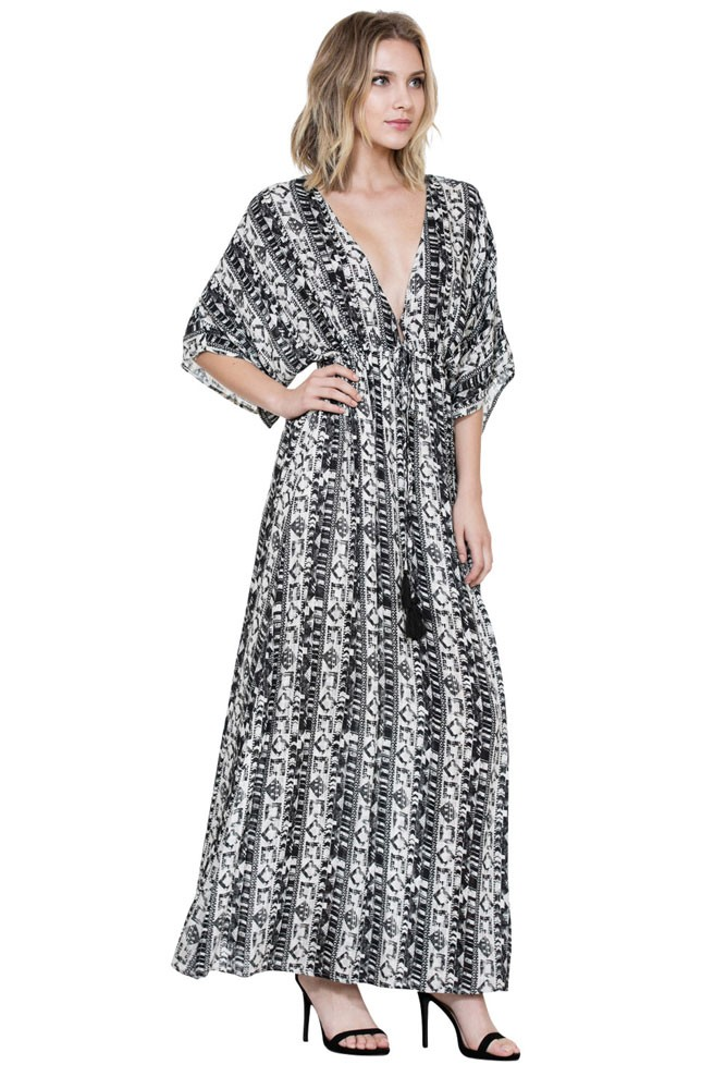 a8ece47f6f Aurora Long Maxi Pattern Nursing Friendly Dress in Black   Off White ...