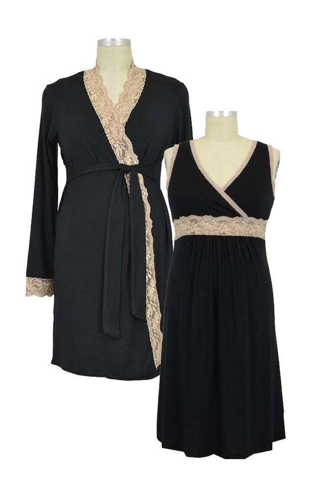 Emma Modal Lace Nursing Chemise & Robe 2-pc. Set (Black / Cream Lace)
