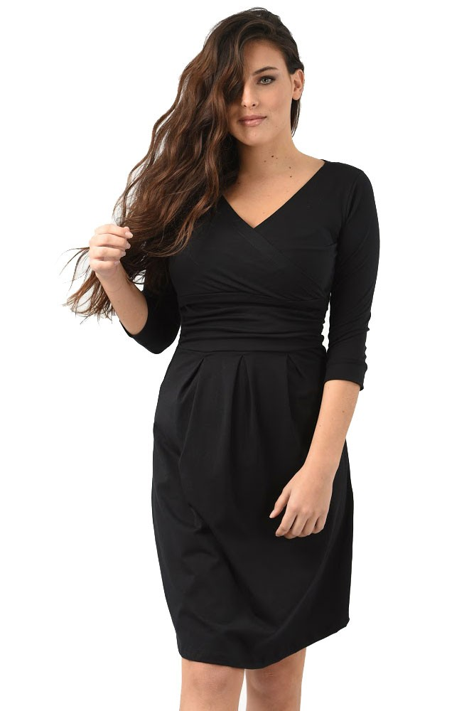 Peek-a-boo Wrap Maternity & Nursing Dress (Black)