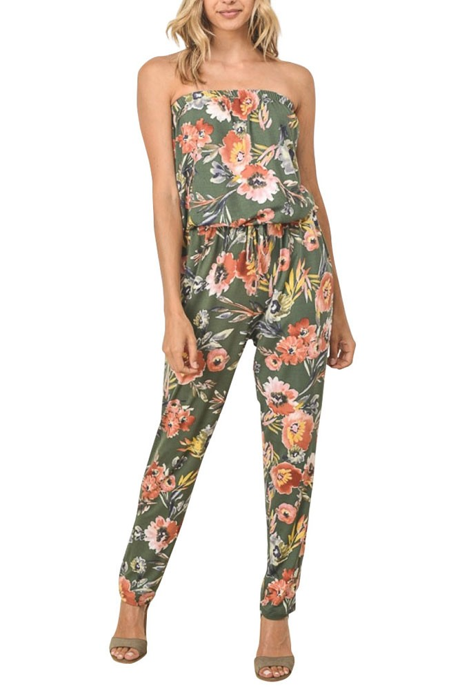 9f787e3d607 Juniper Strapless Jumpsuit in Olive Floral by Elly Kiara