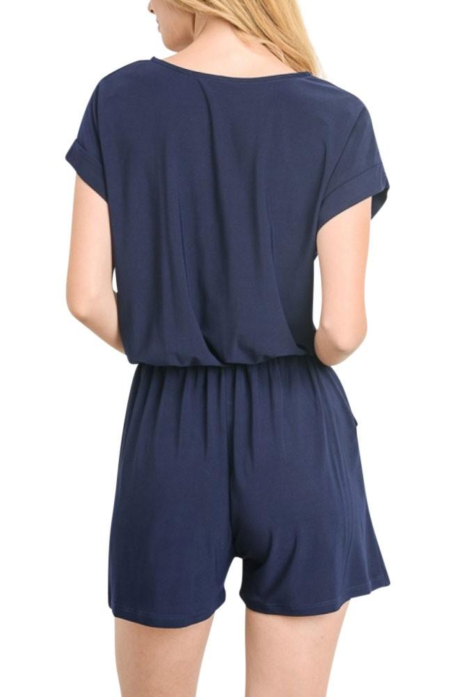 42c6f756470 Cyndi Nursing Friendly Short Jersey Romper in Navy by Elly Kiara