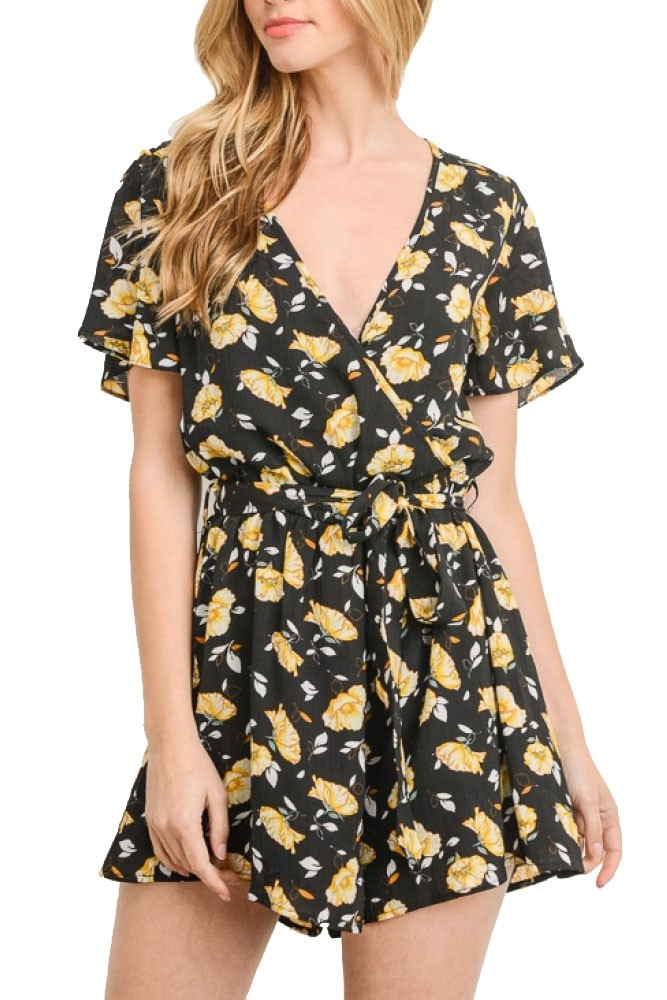 Davina Short Woven Romper (Black & Yellow Floral)