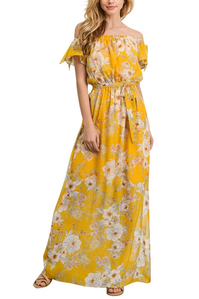 Ophelia Off-the-Shoulder Maxi Dress (Yellow Floral)