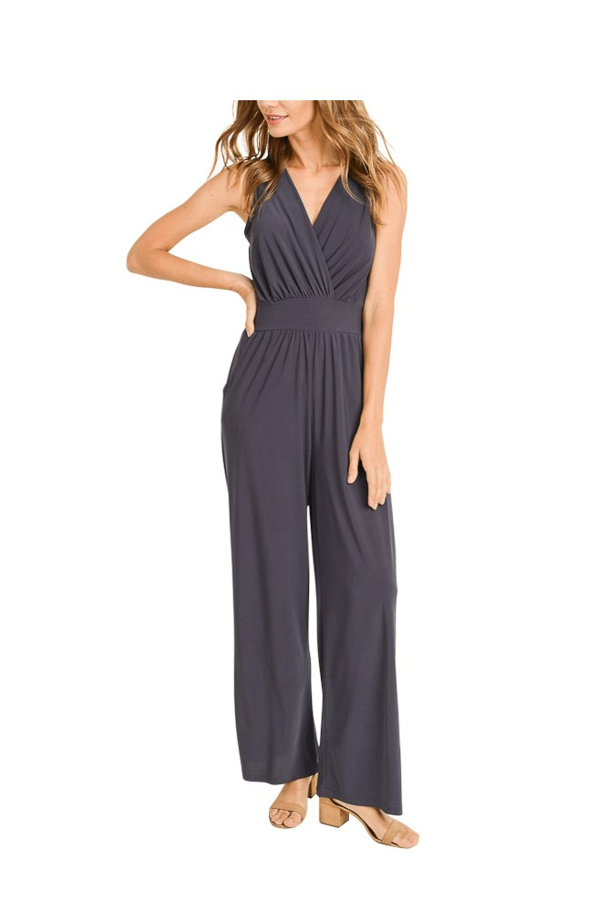 Erika Sleeveless Wrap Front Jumpsuit (Charcoal)
