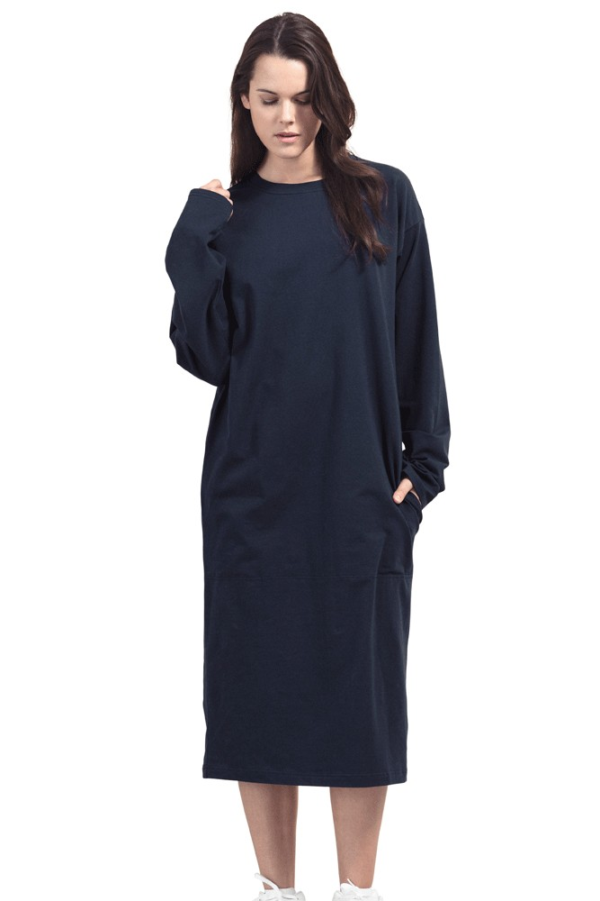 Boob Design BFF Organic Oversized Fit Maternity & Nursing Dress (Midnight Blue)
