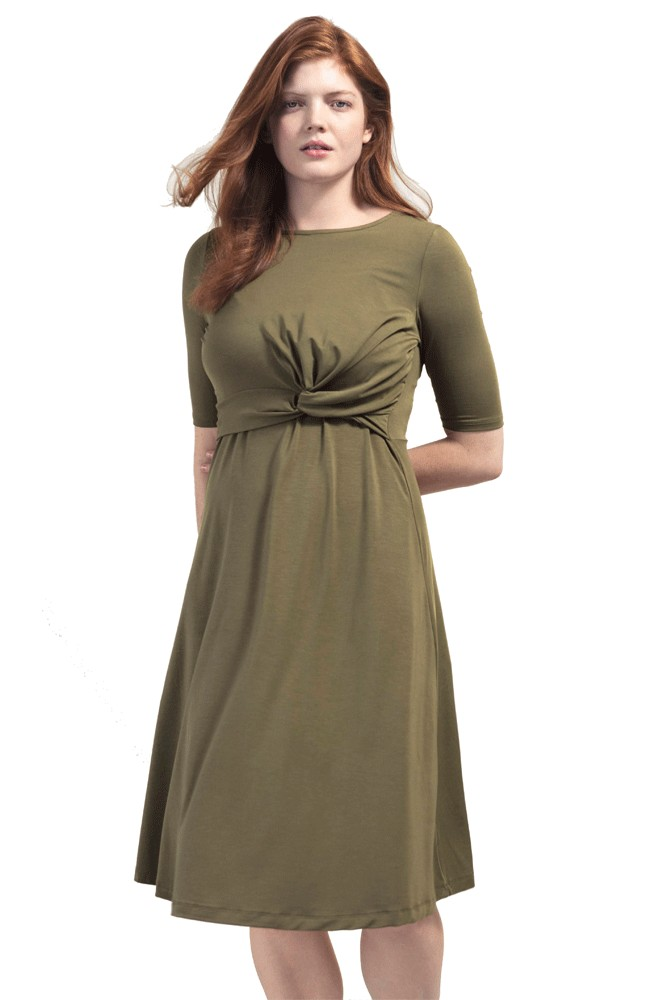 Boob Design Twist Short Sleeve Maternity & Nursing Dress (Forest Green)