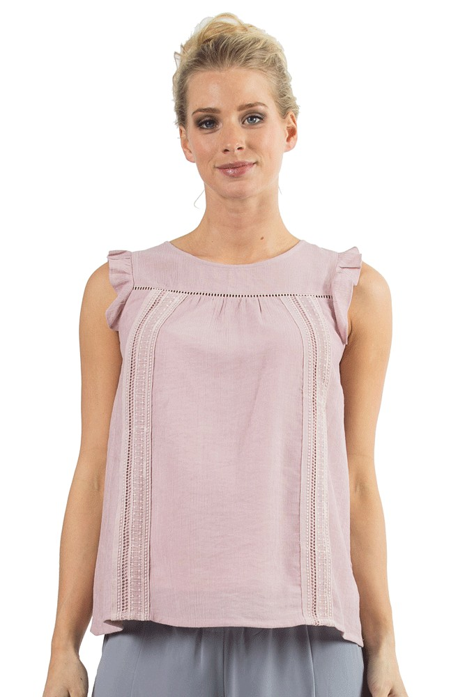 f5412d6fb8c9b9 Cariana Ruffle Sleeve Lace Trim Nursing Top in Pink by Bove by Spring  Maternity