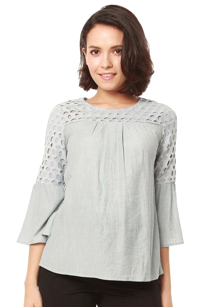 Liana Geometric Lace Sleeve Nursing Blouse (Grey Blue)