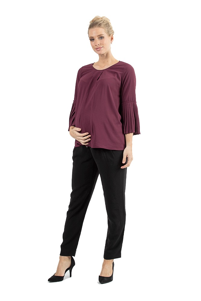 bb63ab15292313 Breena Pleated Bell Sleeve Nursing Top in Maroon by Bove by Spring ...