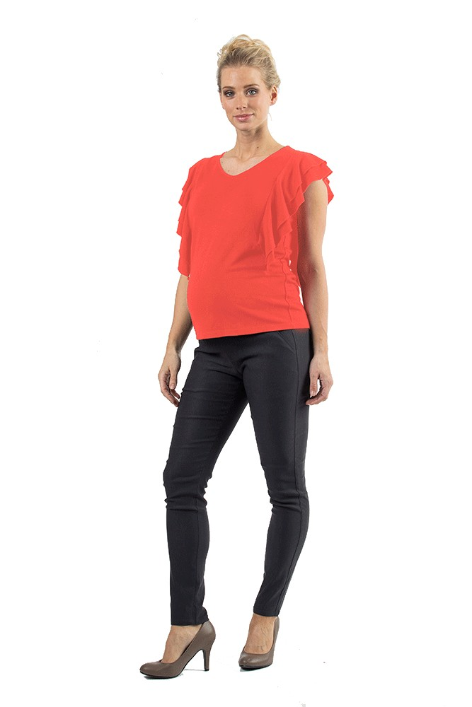 Ella Flutter Sleeve V-neck Nursing Top (Coral)