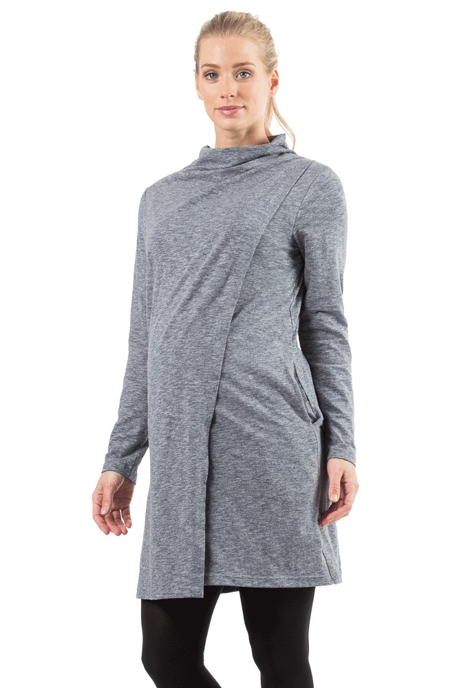 Kendra Sweater Tunic Maternity & Nursing Dress (Black Heather)