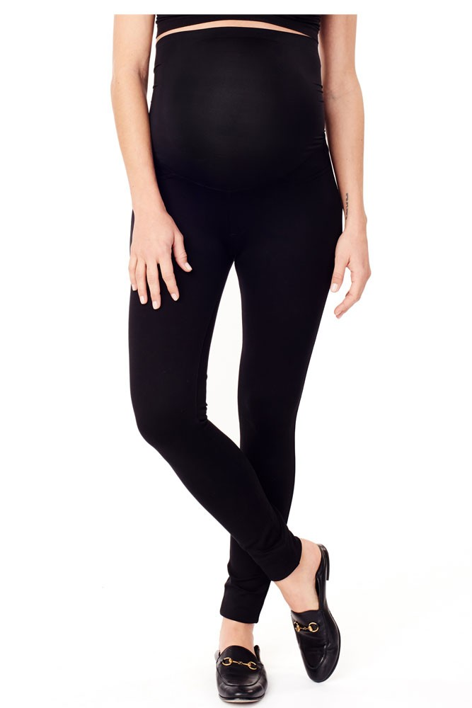 Ingrid & Isabel Skinny Ponte Cigarette Maternity Pant w/Crossover Panel (Jet Black)